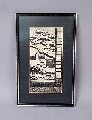 Estate Found Framed Gihachiro Okuyama Garden in Snow Japanese Woodblock Print