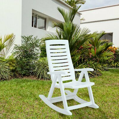 Rimax Outdoor Resin Plastic Rocking Chair - White