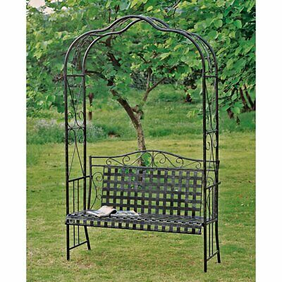 International Caravan Iron Arch Arbor with Bench - 7.25-ft.