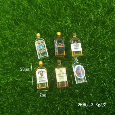6 Dollhouse Miniature 1:12 Wine Whiskey Bottles Shop Pub Bar Drink Accessory
