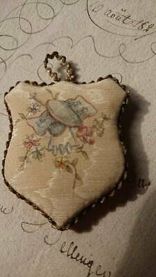 SWEET ANTIQUE FRENCH HAND PAINTED SILK KEY TAB BOOKMARK PIN CUSHION c1880