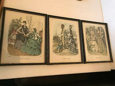 Fabulous Antique Three Stunning  Framed French Fashion Colour Plates