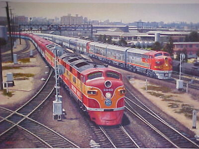 "Railroad Art,Winfield,SF/SP""Lvng LA-View from Mission Tower"", s/n,18x24""  (0421)"