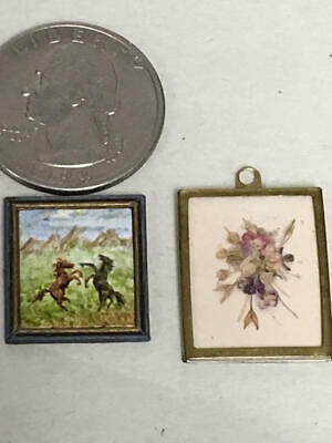1:24 Scale Dollhouse Miniature Picture Lot Gibson Oil Painting, Nancy Lee Floral