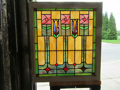 ~ Antique Stained Glass Window Roses~ 30 X 33 ~ Architectural Salvage