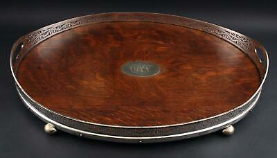 Antique Victorian Silverplate Quartered Oak Wood Oval Gallery Footed Tray