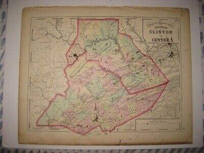 Antique 1872 Clinton Centre County Pennsylvania Handcolored Map Superb Rare Nr