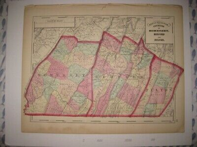 Antique 1872 Somerset Bedford Fulton County Pennsylvania Handcolored Map Superb