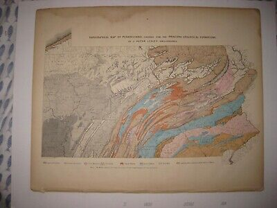 Antique 1872 Topographical Geology Pennsylvania Map Coal Mining Topography Rare