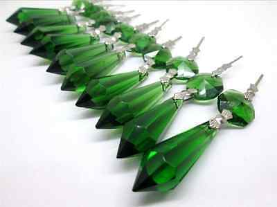 Lot 10 Pcs Green Crystal Glass Chandelier Lamp Part Prisms Drops Pendants 2.4""