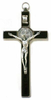 Saint Benedict Crucifix - All Metal with Inlaid Enamel and Silver Color Corpus -