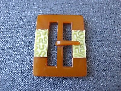 Antique Czech flapper green inlaid applejuice galalith belt buckle unused #2