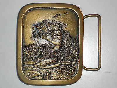 1976 Indiana Metal Craft Bronze Fish Belt buckle Large Mouth Bass pro