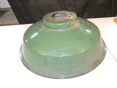 Antique Vintage Green Enamel Industrial Light Fixture Shade  4 BOLT OLD
