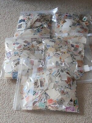ALMOST 20,000 different worldwide postage stamps (no US) off paper no duplicates