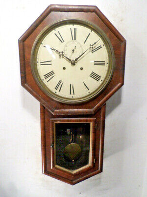 American Long Drop Double Wind Time Only Wall Clock--Trapezoid Movement, 1880