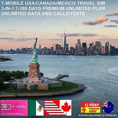 T-Mobile USA+Canada Travel SIM Card |Unlimited Data/Calls/Txt|7-180 Days Prepaid