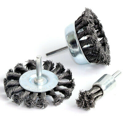 "3Pcs 3'' Twist Knot Wire Wheel Crimped Cup Brush 1/4"" Shank For Drill"