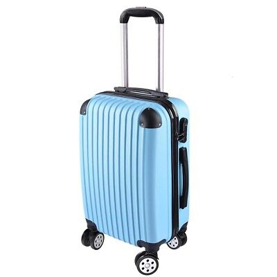 """20"""" Carry On Luggage Travel Bag Trolley Suitcase ABS 360° Rolling Wheel Blue"""