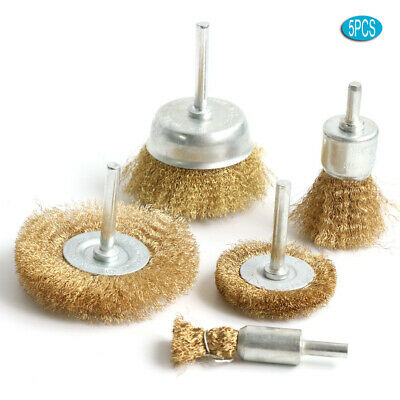 "5PCS Brass Wire Wheel Brush Copper Crimped Cup Brush Kit for Drill 1/4"" Shank"