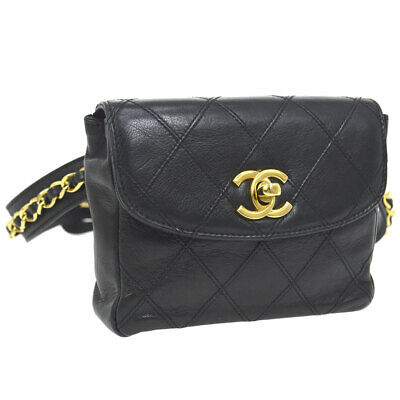 2e30b05daf0c Auth CHANEL Cosmos Line Quilted CC Chain Waist Bum Bag Black Leather AK33947