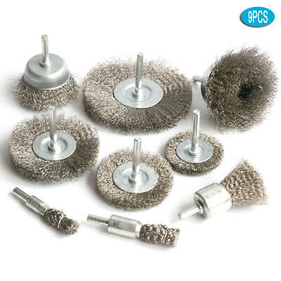 9PC Stainless steel Wire Wheel Brush Crimped Cup Brush Kit for Drill Rotary tool
