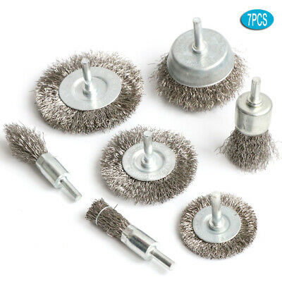 7PC Stainless steel Wire Wheel Brush Crimped Cup Brush Kit for Drill Rotary tool