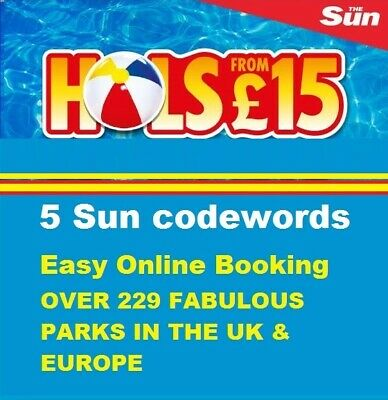The Sun Holidays £15 Online Booking Codes ALL 5 Code words FAST RESPONSE.