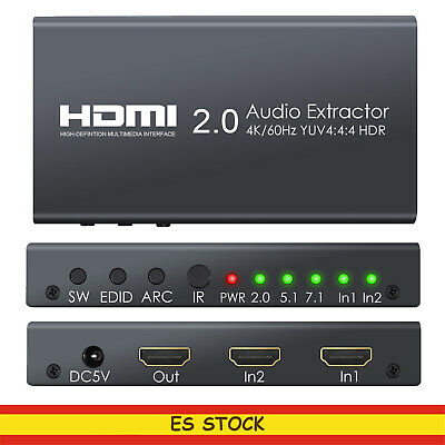 Audio extractor HDMI SWITCH 4k 60KHZ  SPDIF L / R 3,5mm Dolby Digital/ DTS HDR