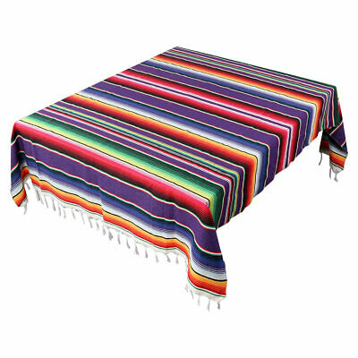 Mexican Serape Tablecloth Fringe Cotton Mexican Blanket Handwoven Home Party Dec