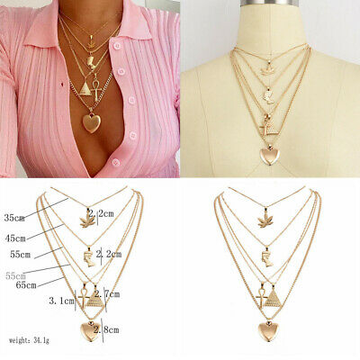 Women Bohemian MultiLayer Metal Heart Leaf Pendant Necklace Pyramid Jewelry