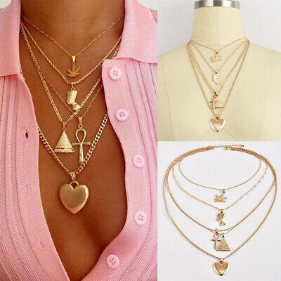 Elegant Women Multilayer Heart Leaf Pyramid Gold Chain Pendant Necklace Jewelry