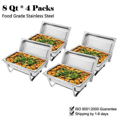 4 Pcs Chafing Dishes Set 304 Stainless Steel Free Shipping Food Warmers 9L/8Qt