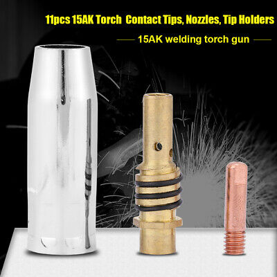 11pcs Welding Torch Nozzles Contact Tips Holders MIG Welder Consumable Parts SY