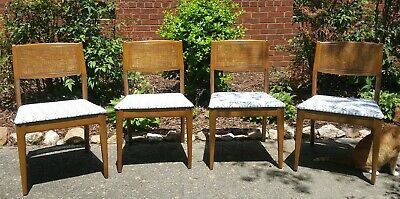Set of 4 Four Mid Century Modern Dining Room Chairs Chair Danish? MCM Cane Back
