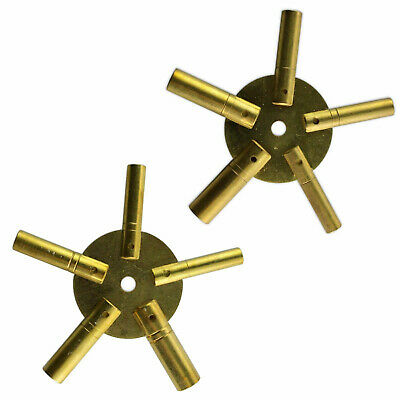 Set Of 2 Brass Clock Winding Keys - Ten Sizes Brass Spider Star - Odd And Even