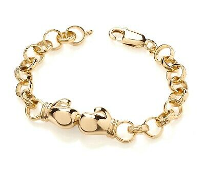9ct Yellow Gold on Silver Kid's / Boy's Belcher Bracelet - Boxing Glove - 6 inch