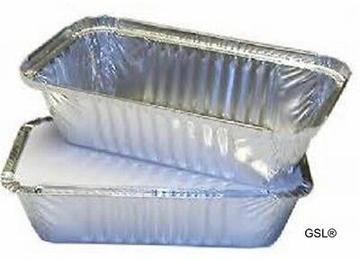 GSL 50 x LARGE ALUMINIUM FOIL FOOD GRADE STORAGE CONTAINERS + 50 LIDS - No6a