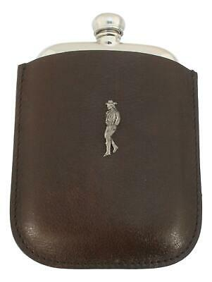 Cow Girl Pewter 4oz Kidney Hip Flask In Leather Pouch FREE ENGRAVING 84