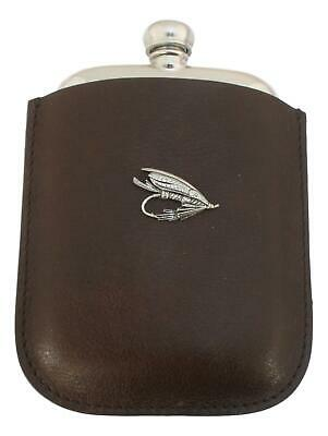 Fishing Fly Pewter 4oz Kidney Hip Flask Leather Pouch FREE ENGRAVING 130