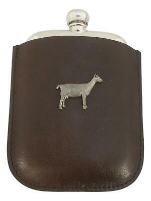 Goat Pewter 4oz Kidney Hip Flask In Leather Pouch FREE ENGRAVING 153