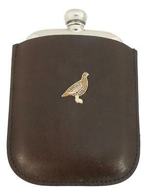 Grouse Enamel Pewter 4oz Kidney Hip Flask In Leather Pouch FREE ENGRAVING 166