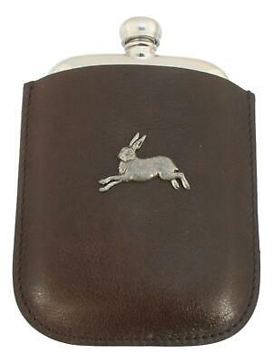 Hare Running Pewter 4oz Kidney Hip Flask In Leather Pouch FREE ENGRAVING 172