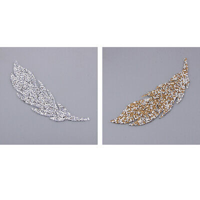 2pcs Feather Rhinestones Hot Fix Iron on Patches for Clothes Dress Appliques