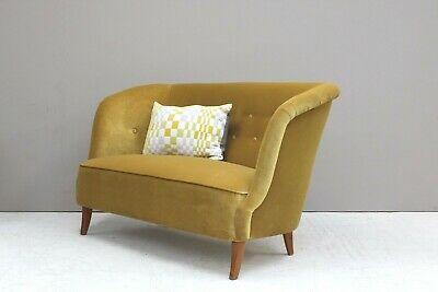Refurbished Danish 1930s Two Seater Banana Sofa Midcentury 30s