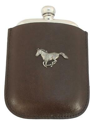 Horse Running Pewter 4oz Kidney Hip Flask In Leather Pouch FREE ENGRAVING 189