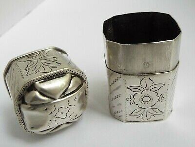 Decorative Rare Shaped Dutch Antique 1867 Solid Silver Peppermint Toothpick Box