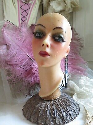 Antique 20s WAX Buste Flapper Mannequin Head Glass Eyes Wachs Büste Display