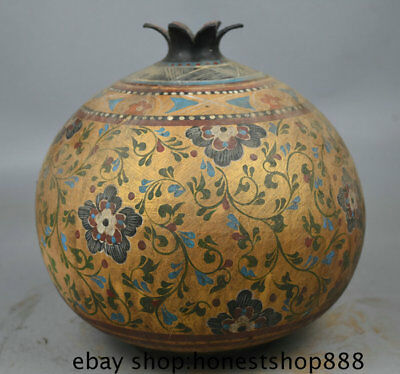"8.8"" Antique Chinese Ceramics Gold Painting Palace Pineapple Flower Bottle Vase"