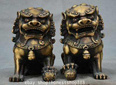 """4.8 """" Old Chinese Copper Feng Shui Foo Fu Dog Guardion Lion Ball Statue Pair"""